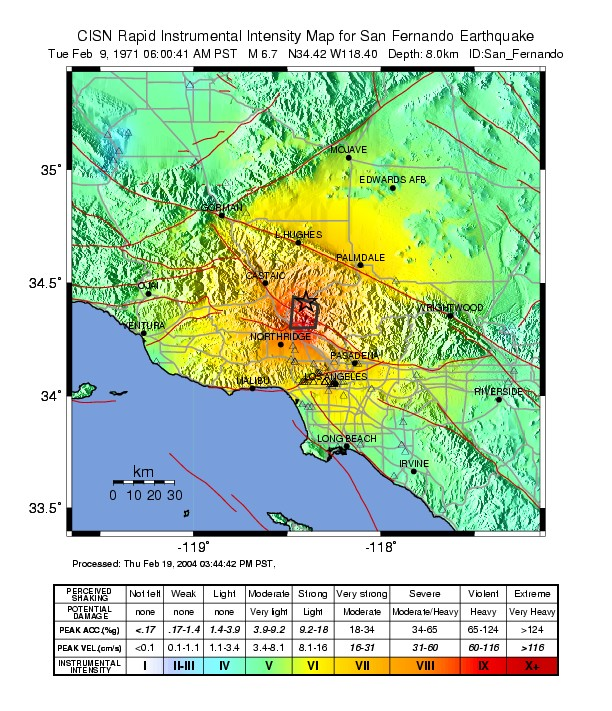 Usgs Earthquake Map San Francisco.File February 1971 San Fernando Earthquake Intensity Usgs Jpg