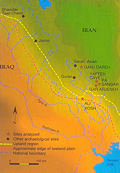 Map showing location of Ganj Dareh and other early Neolithic sites in western Zagros. Ganj dareh.jpg