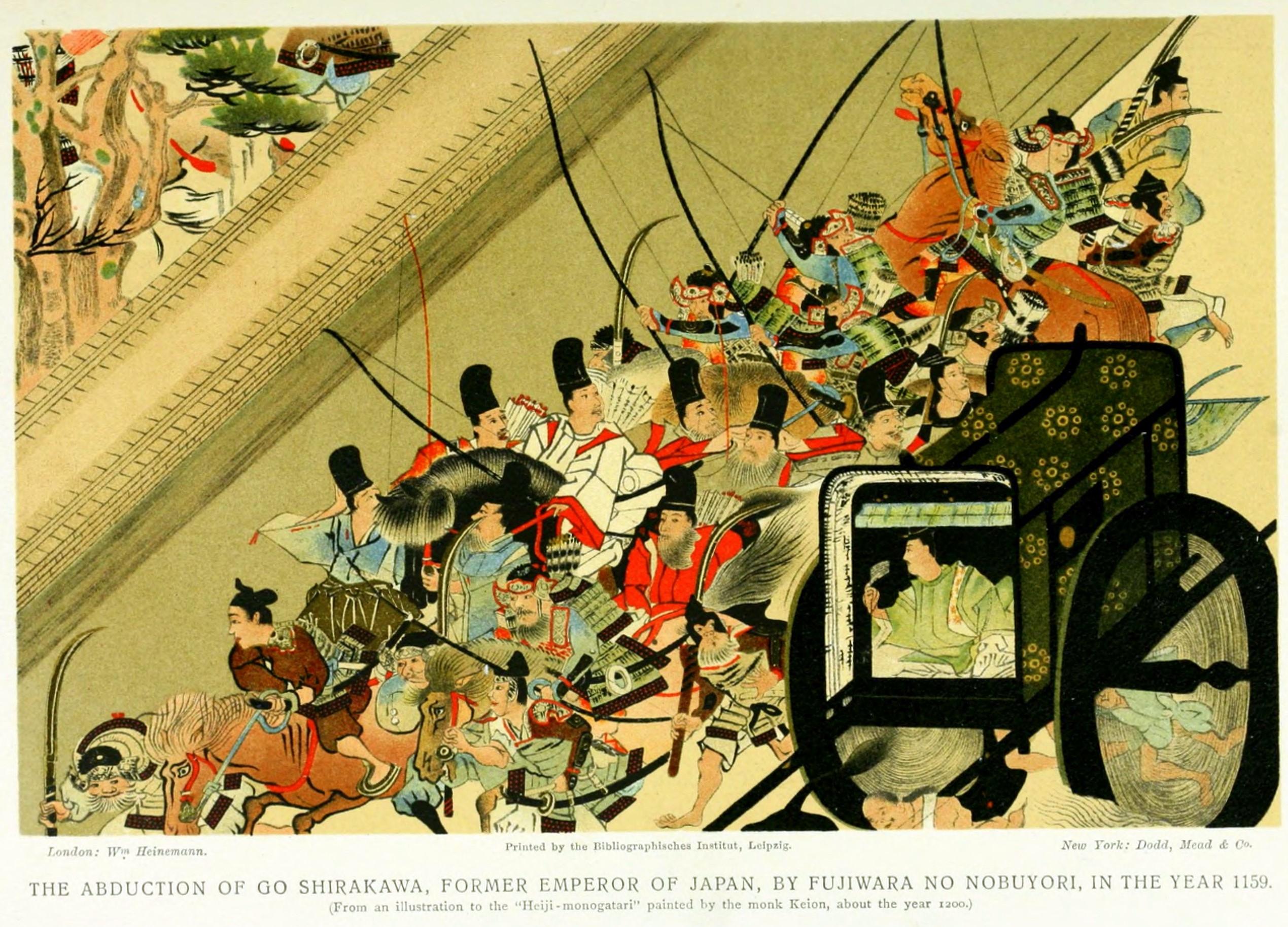 Secuestro del Emperador-retirado Go-Shirakawa por parte de Nobuyori en la rebelión de Heiji
