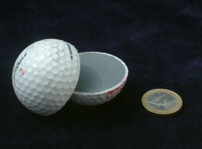 Golf Ball Cut open with size reference