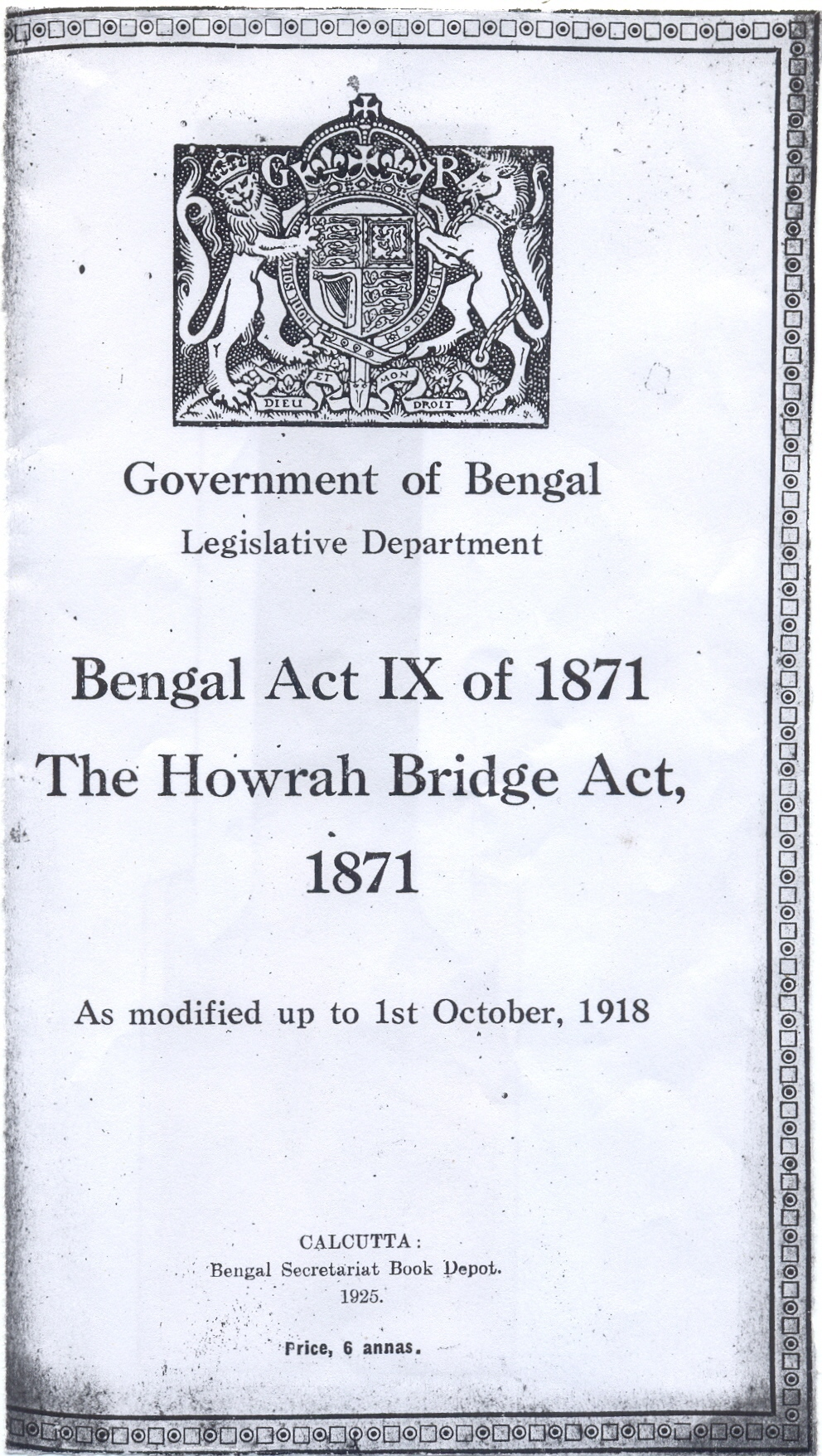 The Howrah Bridge Act of 1871