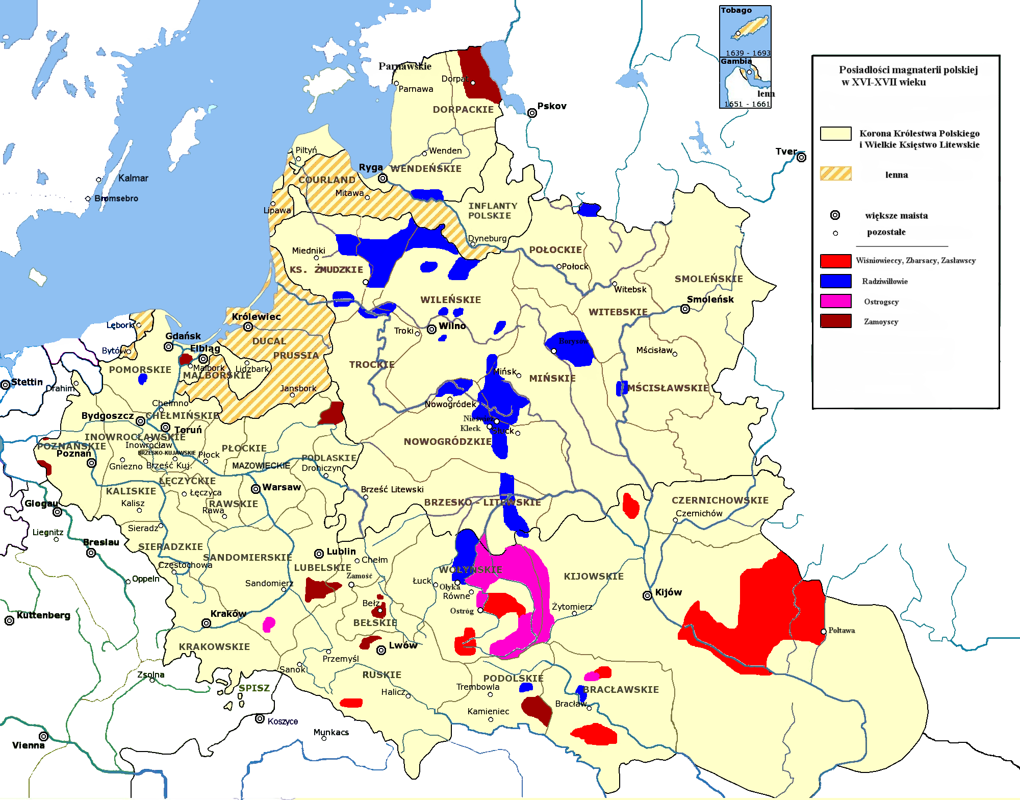 Properties of some Magnates in the Polish Lithuanian Commonwealth