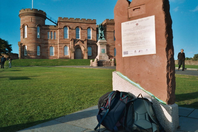 Inverness Castle and Great Glen Way finish post^ - geograph.org.uk - 219990