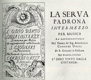 Programme de 1739 présentrant la Serva Padrona