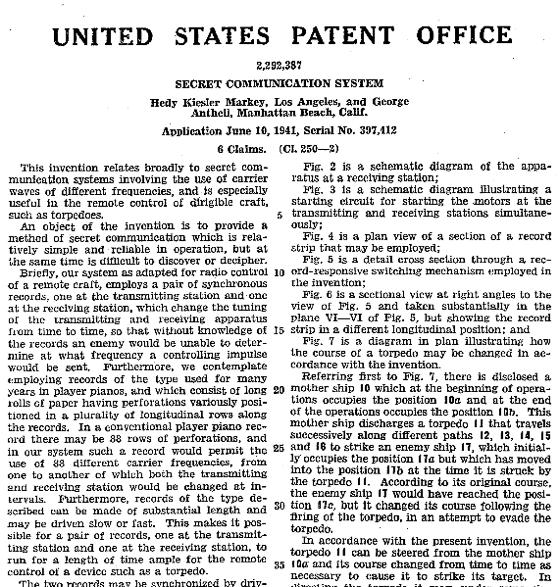 Patent für Lamarrs Kommunikationssystem (Quelle: Wikimedia Commons)