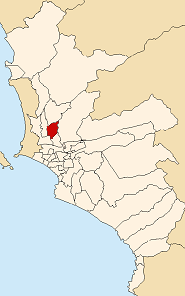 Location of Independencia in the Lima province