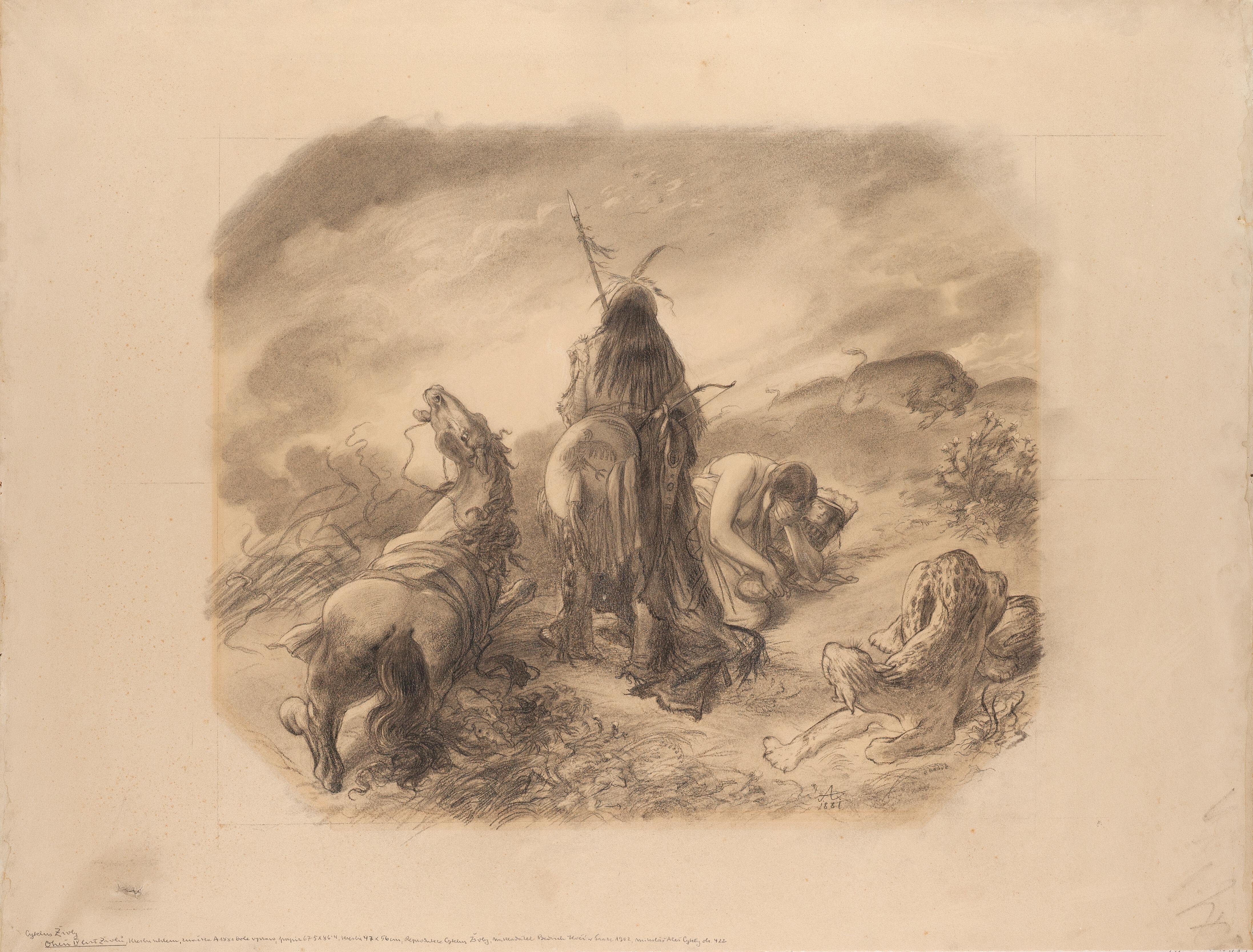 File Mikolas Ales Ohen Cyklus Zivly 1881 Uhel Na Kartonu 677 X