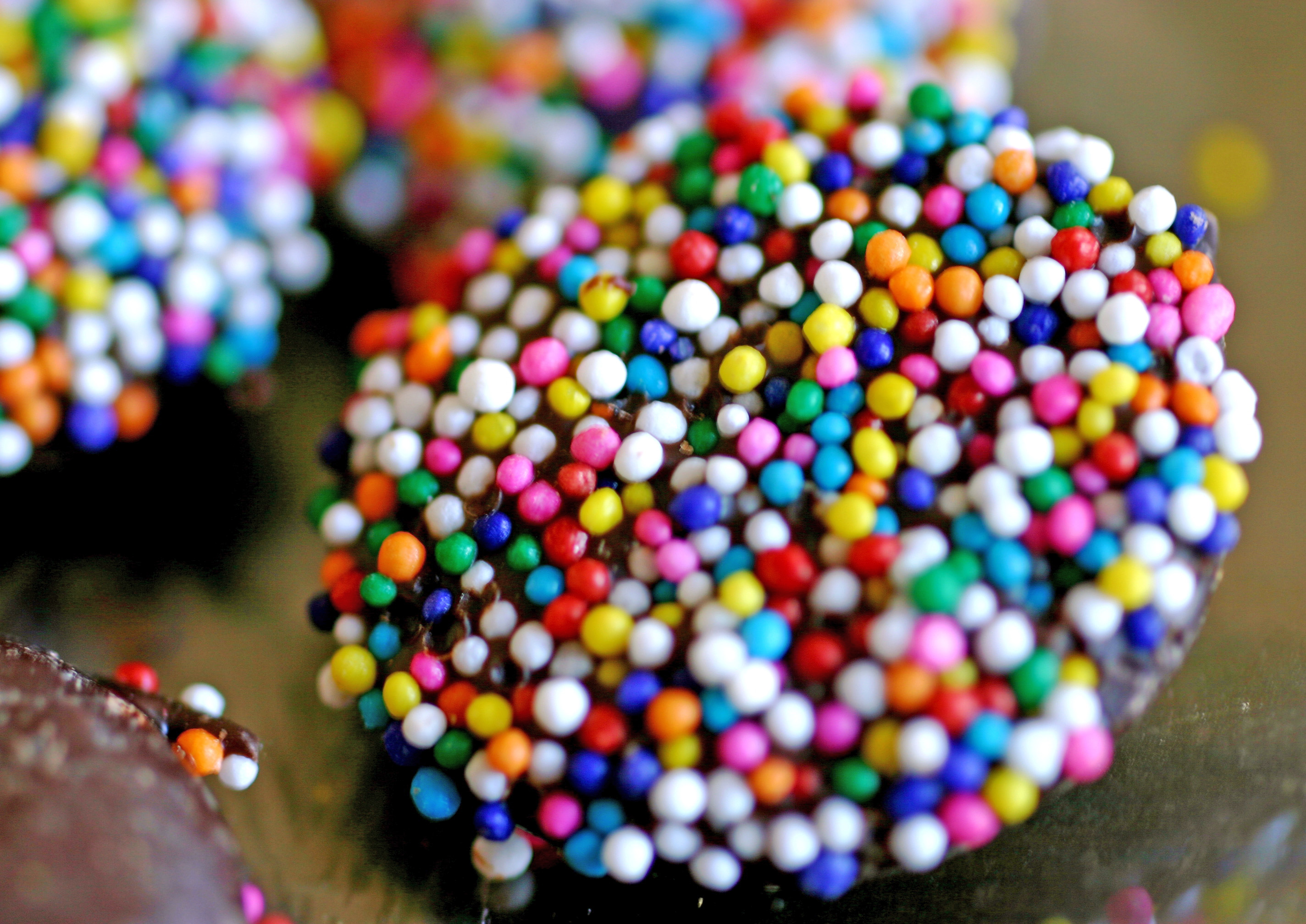 chocolate candy with white dots
