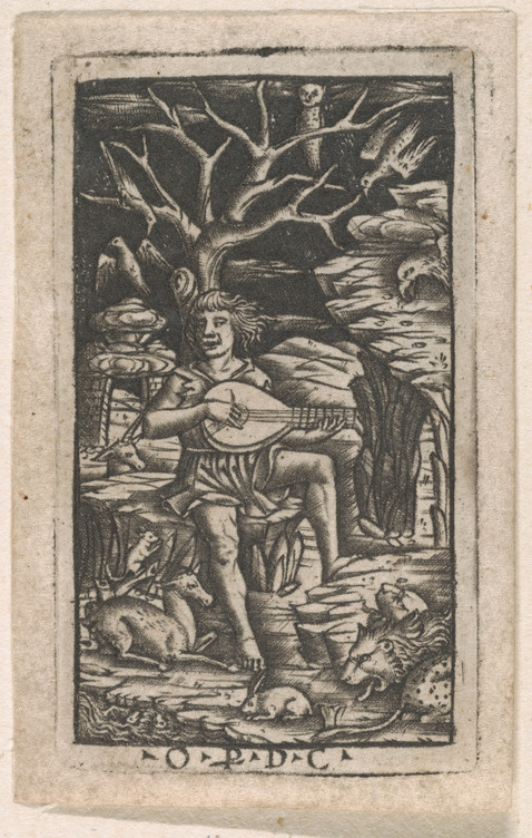 File:Orpheus seated and playing his lyre, charming the ...