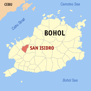 Map of Bohol showing the location of San Isidro