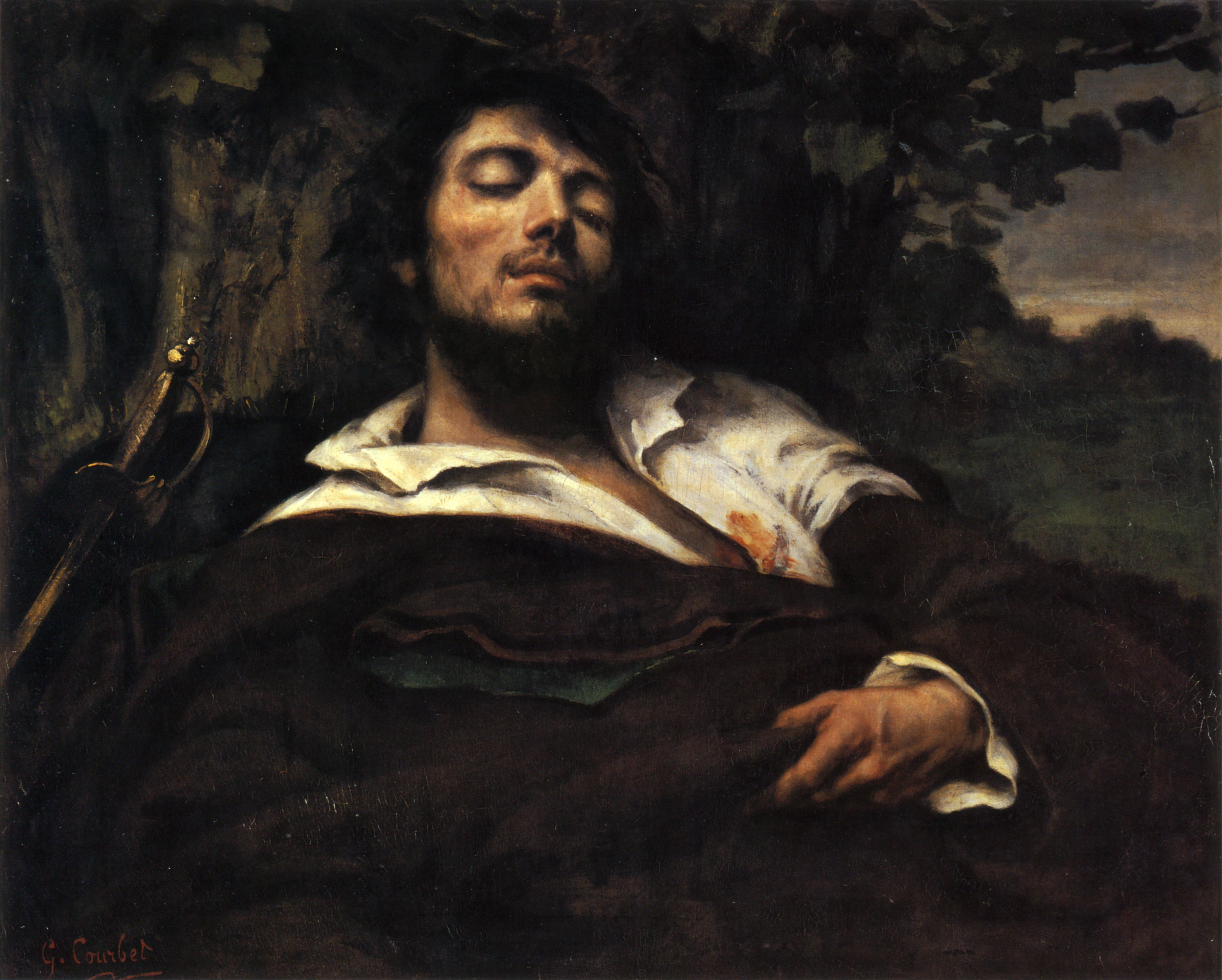 Portrait of the Artist called The Wounded Man (L'homme bless%C3%A9) by Gustave Courbet