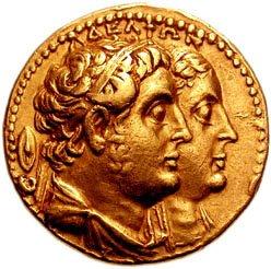 Een munt met daarop Ptolemaeus II Philadelphus, de eerste Ptolemaeïsche koning die oorlog voerde met de Seleuciden.