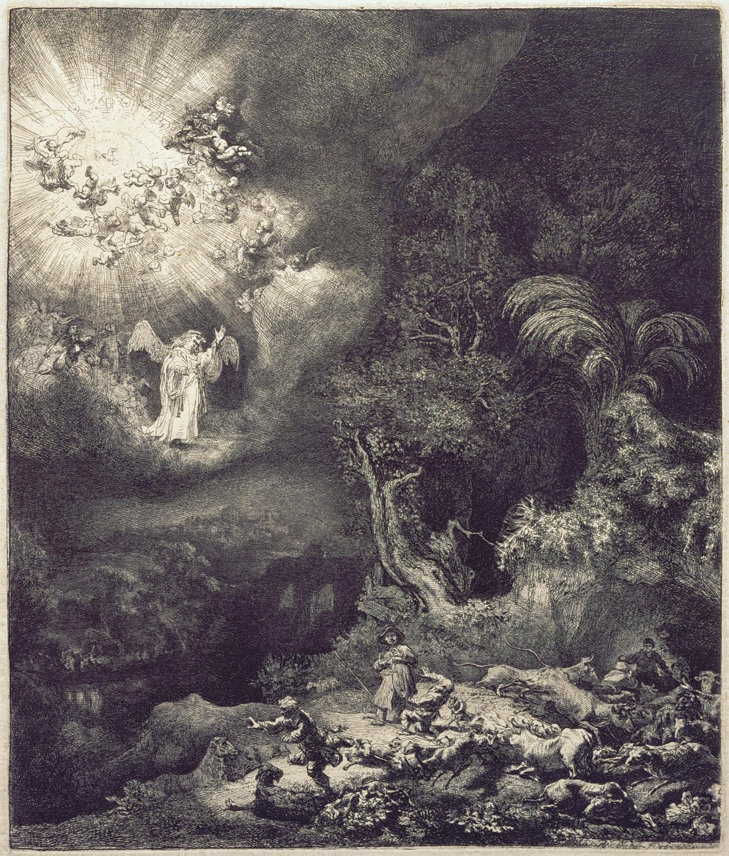 Výsledek obrázku pro rembrandt annunciation shepherds
