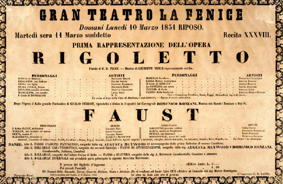 La Fenice's poster for the world premiere of Rigoletto Rigoletto premiere poster.jpg