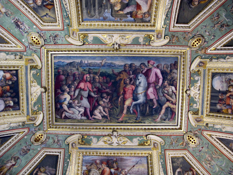 File:Sala di cosimo il vecchio, soffitto, afferschi di vasari e marco marchetti 02.JPG ...