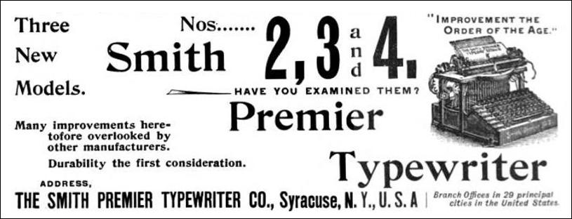 Smith Premier Typewriter - advertisement 1896