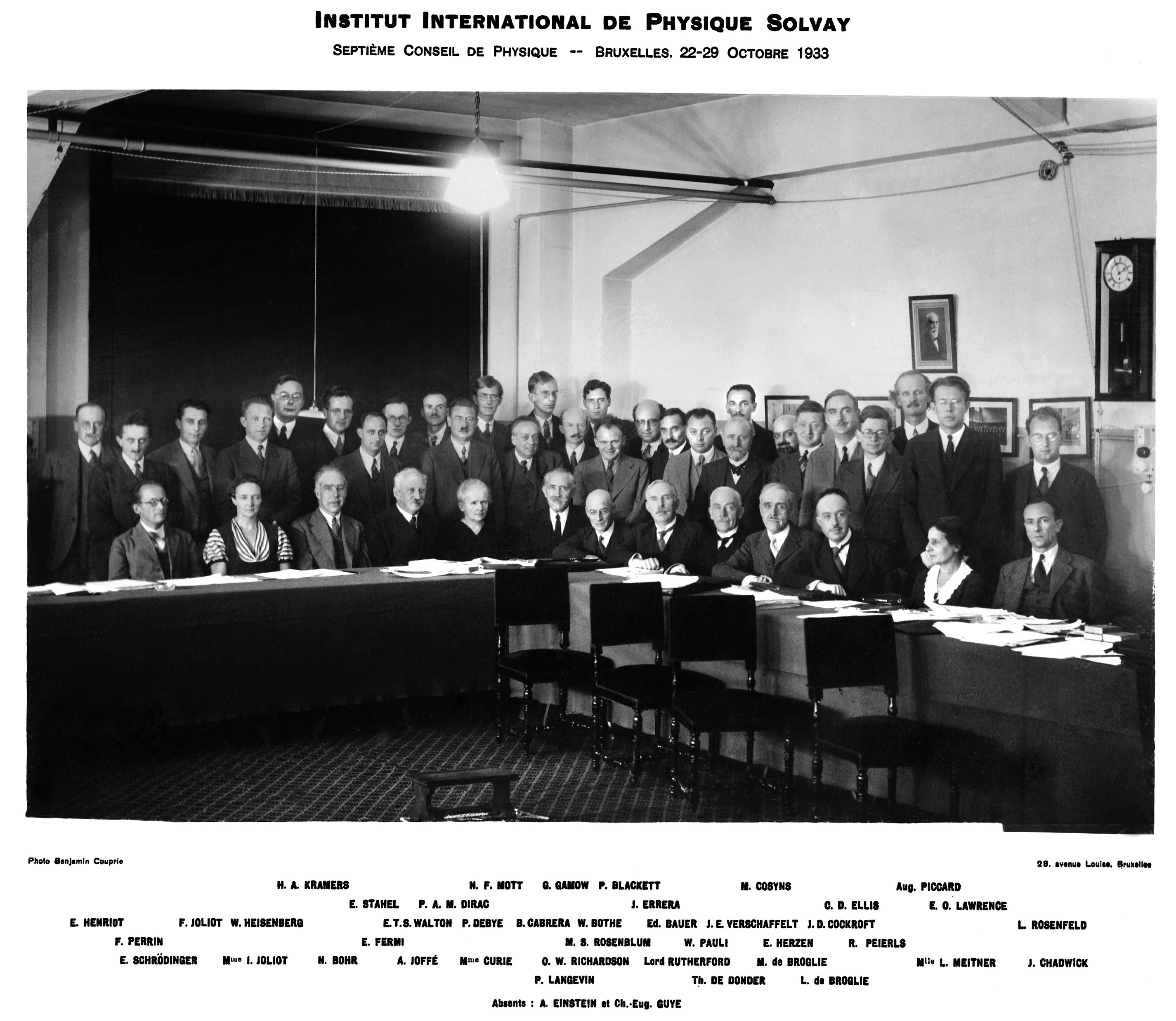 A group of scientists participated in the 7th Solvay Conference, Bruxelles (October 1933), Courtesy