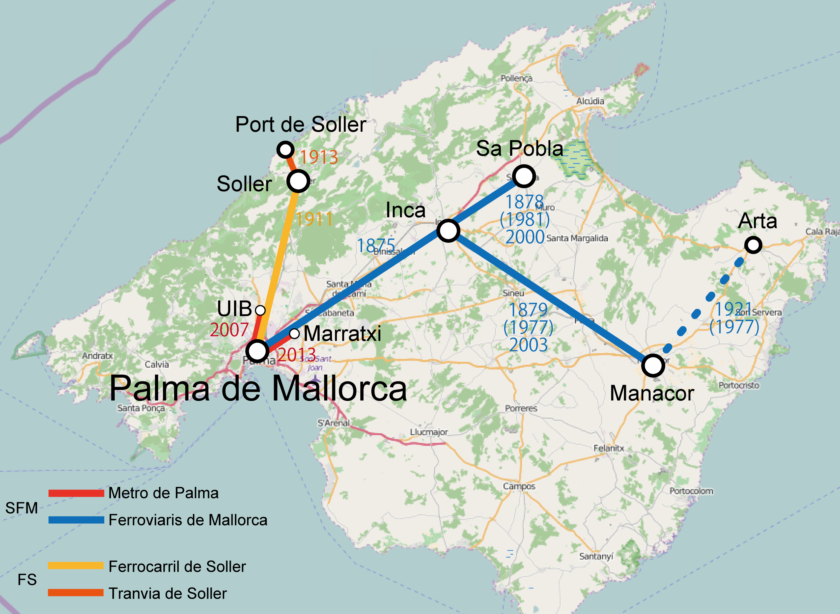 Map Of Spain And Mallorca.File Spain Mallorca Island Railway Network Png Wikipedia
