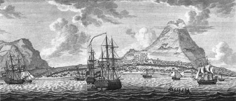 Historical engraving showing the view from out in the Caribbean Sea, approaching the island of Sint Eustatius