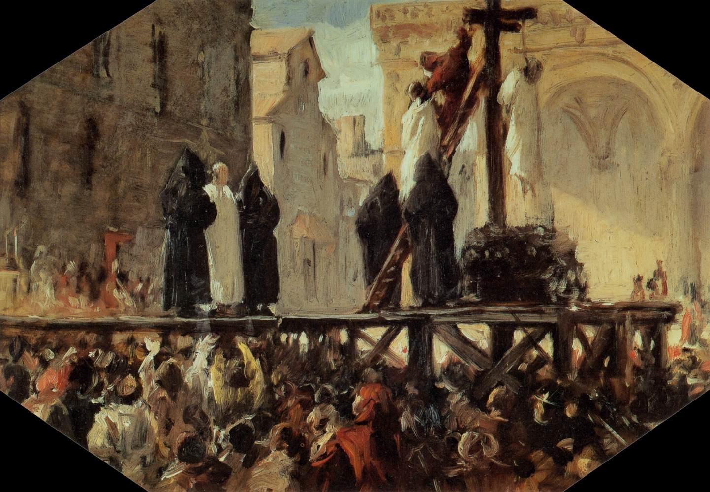 Stefano Ussi, The Execution of Savonarola, Oil sketch on glass, 41 x 45 cm, Galleria Palatina (Palazzo Pitti), Florence