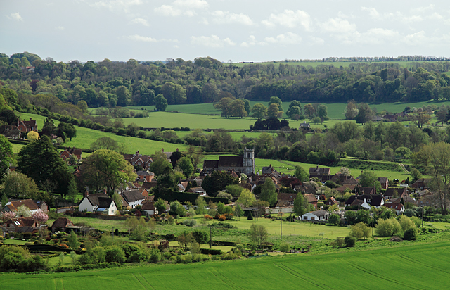 The Village of Stourpaine from Hod Hill - geograph.org.uk - 1278856