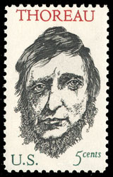 1967 U.S. postage stamp honoring Thoreau, designed by Leonard Baskin
