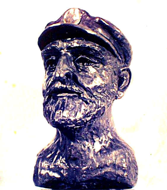 Bronze portrait bust of Tristan Jones, sculpted from life, by William Barth Osmundsen during the 1987 Annapolis Sailboat Show. Bronze cast in 1988.