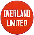 """Drumhead"" logos such as this often adorned the ends of the observation cars on the Overland Limited."