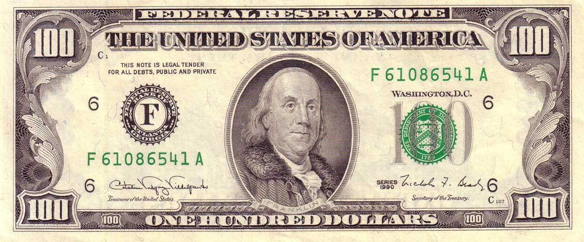 File Us 100 1990 Federal Reserve Note Obverse Jpg