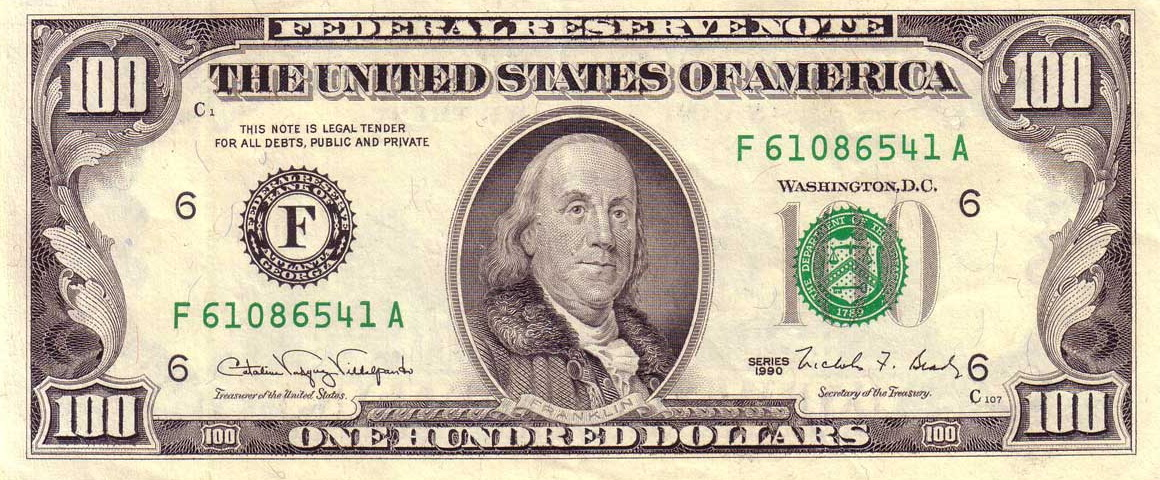 File Us 100 1990 Federal Reserve Note Obverse Jpg