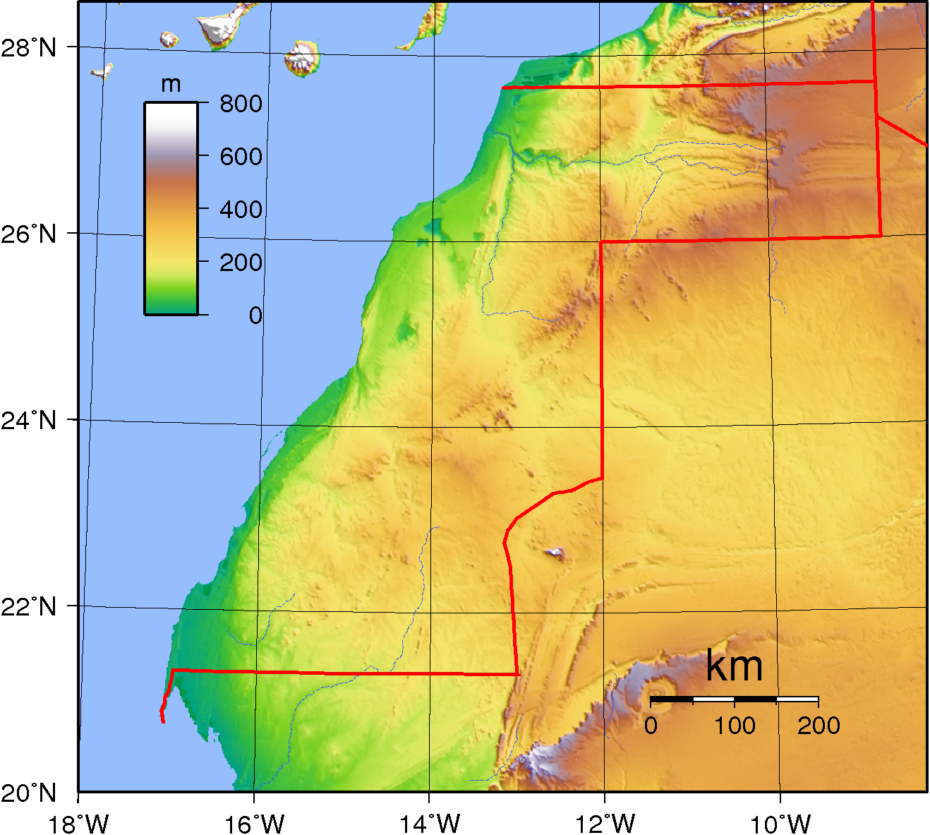 FileWestern Sahara Topographypng Wikimedia Commons - Western sahara map