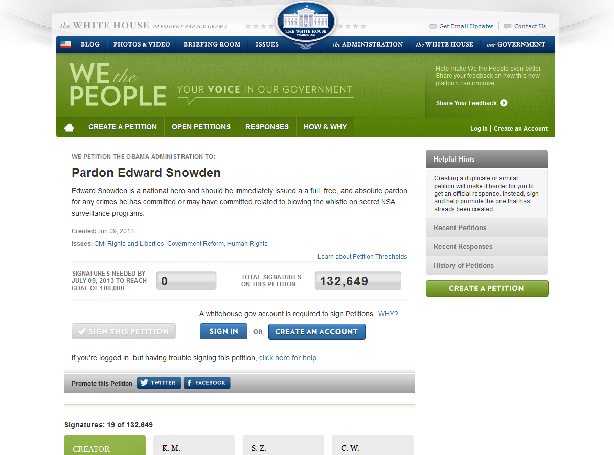 Whitehouse pardon Edward Snowden petition.png