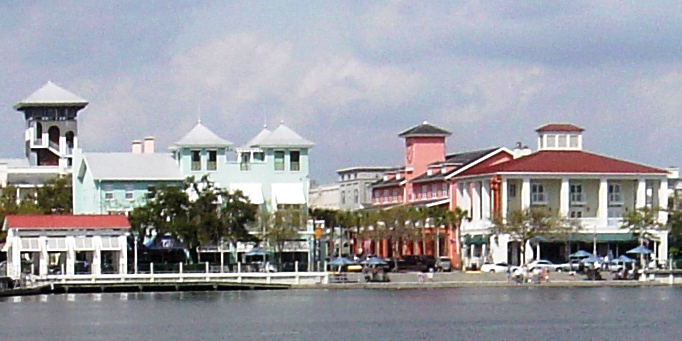 A view of downtown Celebration, Florida.