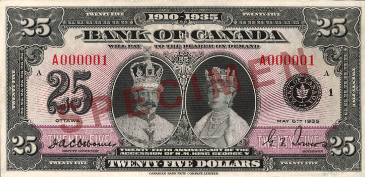 File 1935 Series Bank Of Canada 25 Commemorative Banknote