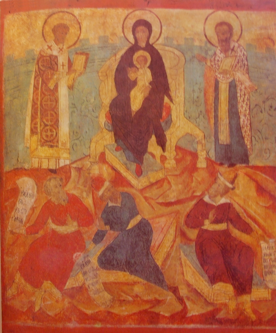 Icon of the Akathist of the Theotokos. Fresco ...