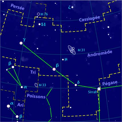 Carte pour la constellation Andromède produite à l'aide du logiciel PP3 - Orthogaffe / Korrigan - Wikimedia commons