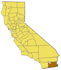Map of California highlighting Imperial County