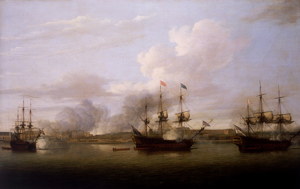 Capture of the position of Chandernagore in 1757 by the Royal Navy. seven years war. painting Dominic Serres