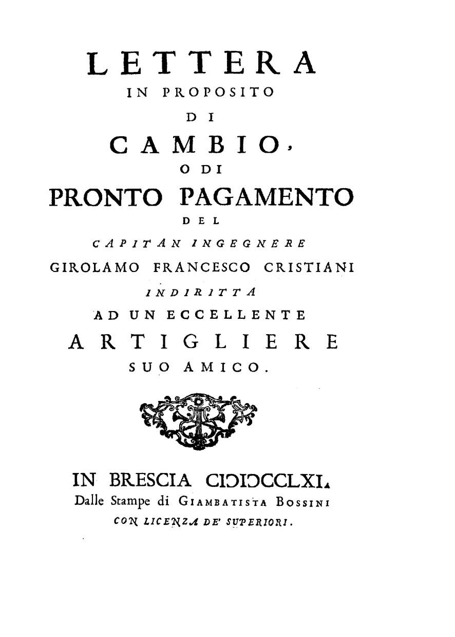 ''Lettera in proposito di cambio o di pronto pagamento'', 1761
