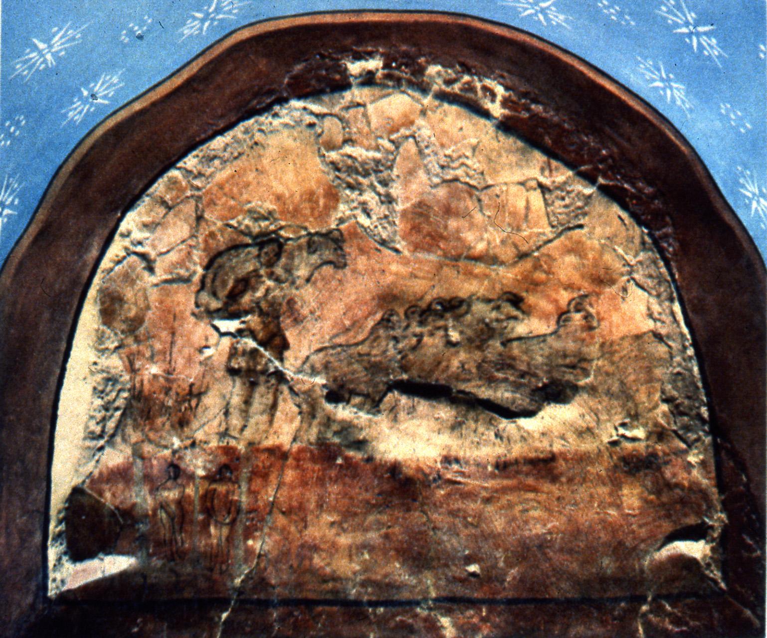 Buen Pastor. Arcosolium del Baptisterio de Dura Europos, S. II-III, Siria