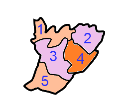 A clickable map of East Garo Hills district exhibiting its five C.D. blocks.
