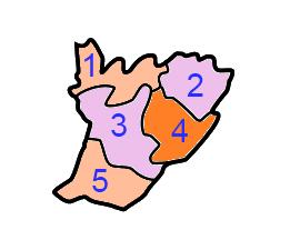 A clickable map of East Garo Hills district exhibiting its five C.D. blocks.