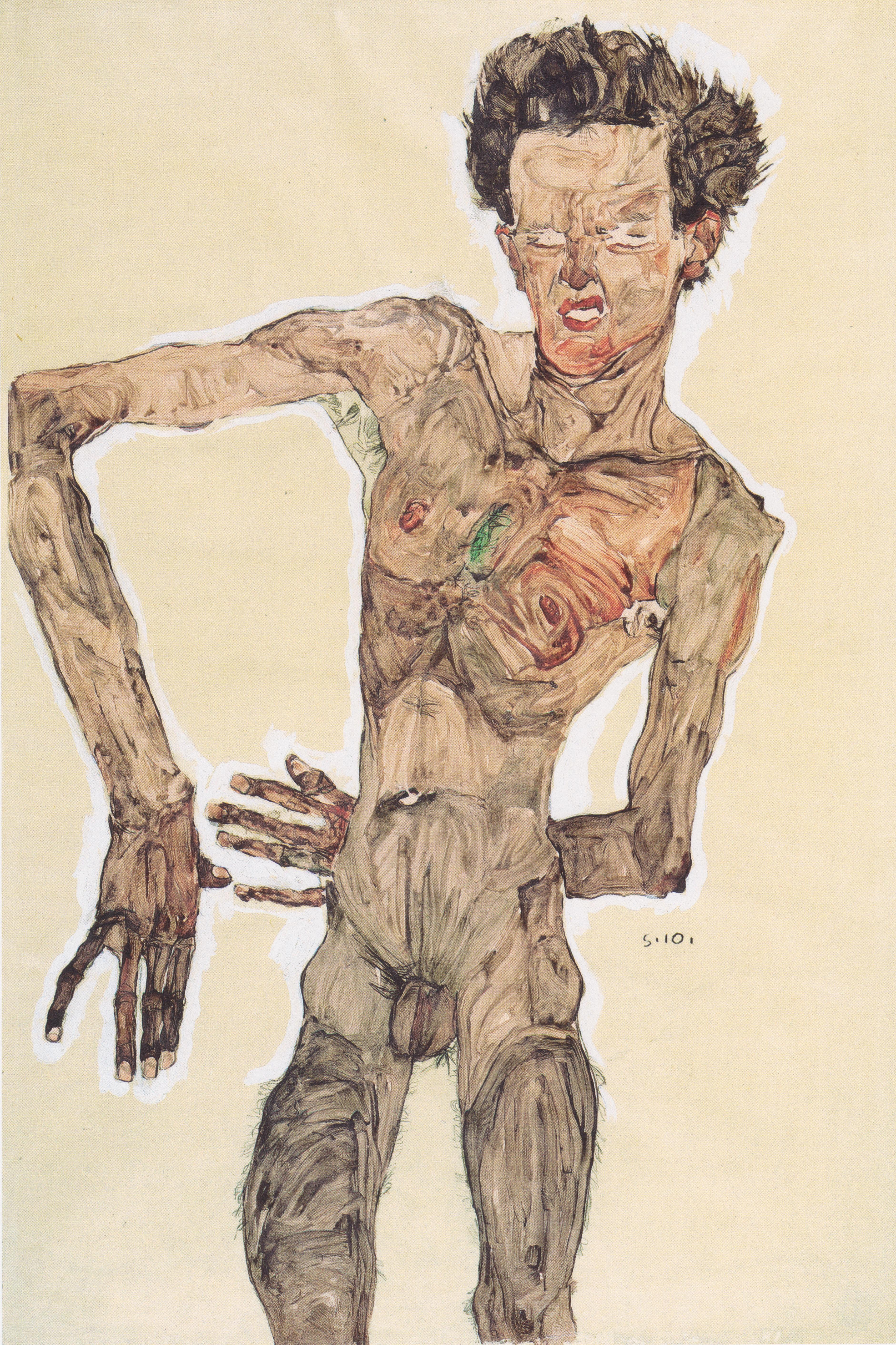 Egon Schiele - Grimassierendes Aktselbstbildnis - 1910.jpeg