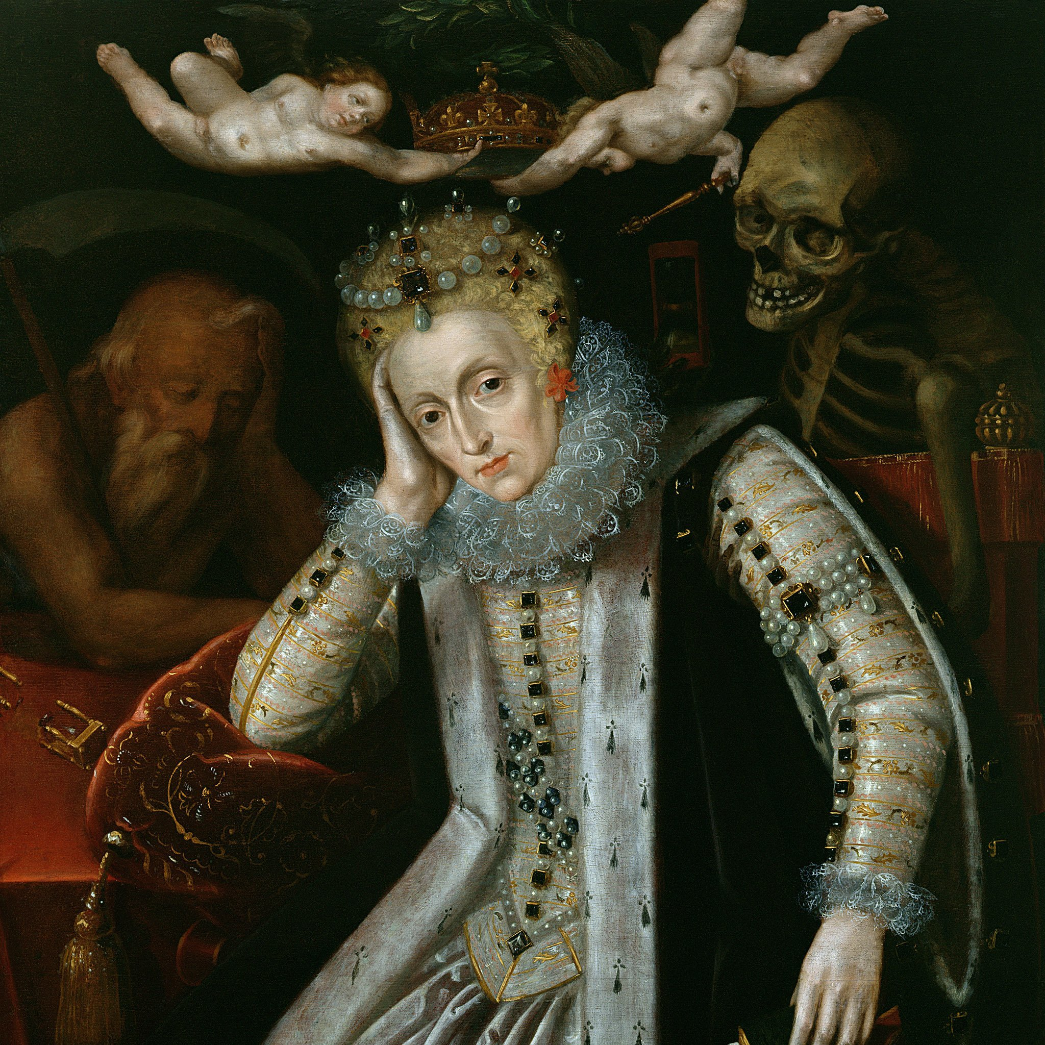 A painting of Queen Elizabeth I with Old Father Time to her right, and a skeleton peering over her left shoulder.