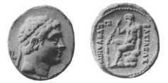 Coin depicting the Greco-Bactrian king Euthydemus (230-200 BCE)
