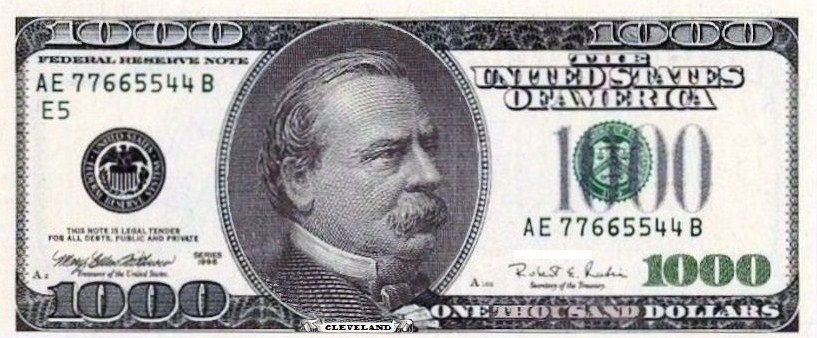 photograph regarding Fake 1000 Dollar Bill Printable named Report:Wrong forex-1000 greenback monthly bill.jpg - Wikimedia Commons