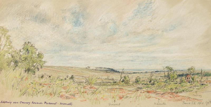 File:First World War Sketchbook Volume 1 - Looking over Carnoy towards Fricourt June 22 1916 Art.IWMART16707A24a.jpg