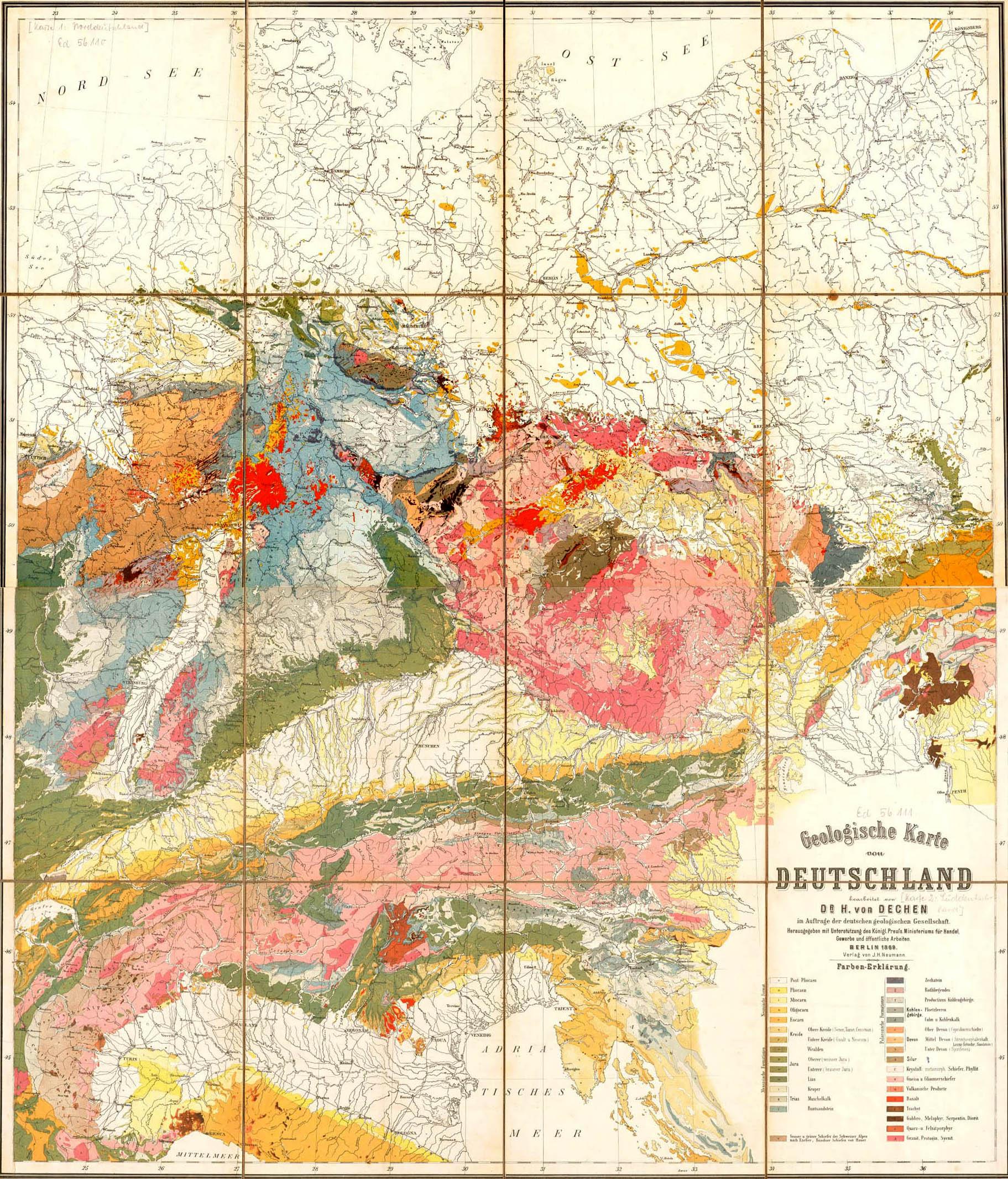 Geologische Karte Deutschlands (1869)