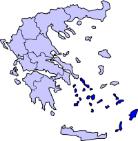 Location of South Aegean Periphery in Greece.