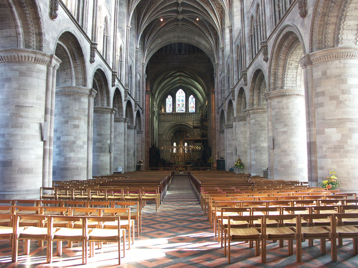 Interior view of [[Hereford Cathedral]]. The lower sections predate Foliot's time as bishop.